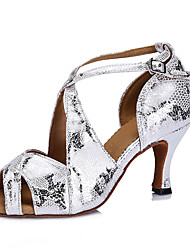 Customizable Women's Dance Shoes Latin Leatherette Stiletto Heel Silver