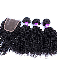 Malaysian Virgin Hair With Closure Fast Shipping Free Part Lace Closure With Bundles Malaysian Curly Hair With Closure