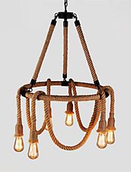 6 Heads American Country Retro Industrial Hemp Rope Chandelier Living Room Restaurant pendant lights light Fixture