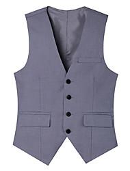 Men's Sleeveless Regular Blazer,Cotton / Acrylic / Polyester Solid 916196