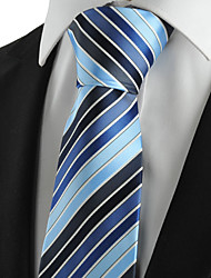KissTies Men's Tie Blue Striped Wedding/Business/Party/Work/Casual Necktie With Gift Box