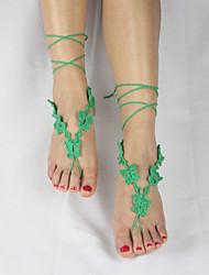 papillons crochet bracelet en coton chaîne de cheville plage de mariage des femmes des sandales aux pieds nus