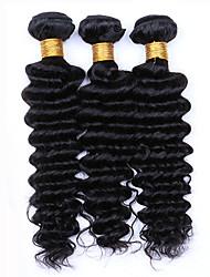 7A Deep Wave Virgin Hair 3 Bundles/Lot, Cheap Unprocessed Mongolian Hair Human Hair Bundles