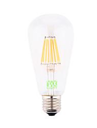 8W E26/E27 LED лампы накаливания ST64 8 COB 700-800 lm Тёплый белый Декоративная AC 85-265 / AC 220-240 / AC 110-130 V 1 шт.