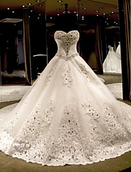 Princess Strapless Cathedral Train Tulle Wedding Dress with Beading by
