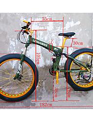 Сноубайк Складные велосипеды Велоспорт 21 Скорость 26 дюймы/700CC 40 мм SHIMANO 51-7 Двойной дисковый тормоз Передняя вилка с амортизацией