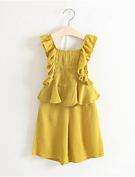 Girl's Yellow Clothing Set,Solid Cotton Summer