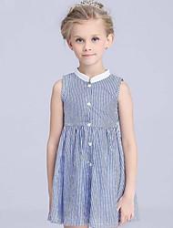 Vestido Chica de-Verano-Algodón-Azul