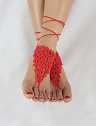 Women's Handmade Flower Beach Wear Fashion Crochet Anklet Barefoot Sandals
