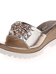 Women's Shoes PU Wedge Heel Wedges / Peep Toe / Open Toe Sandals Outdoor / Dress / Casual Silver / Gold