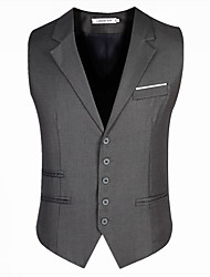 Men's Sleeveless Regular Blazer,Cotton / Acrylic / Polyester Solid 916195