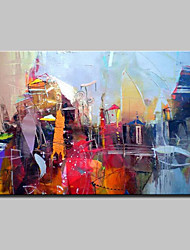 Hand Painted Modern Abstract City Landscape Oil Painting On Canvas Wall Art With Stretched Frame Ready To Hang 90x140cm
