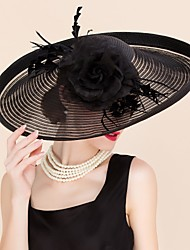 Women's Feather / Tulle / Silk Headpiece-Wedding / Special Occasion / Casual Fascinators / Hats 1 Piece