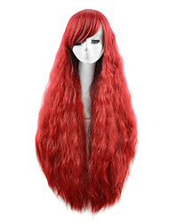 Capless Red Color High Quality Natural Wave Synthetic Wigs