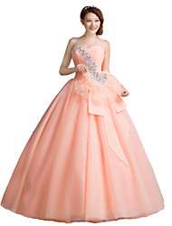 Ball Gown Strapless Floor Length Tulle Formal Evening Dress with Crystal Detailing