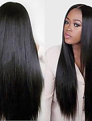 2015 moda 10-28inch 100% peruano cabelo virgem de seda longa reta cor natural cheia do laço peruca