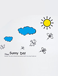 PVC Transparent Sunny Day Bee Wall Stickers Bathroom Glass Fashion Sun Wall Decals Wall Art