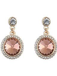 Elegant Champagne Rhinestone Ladies Fashion Round Earrings
