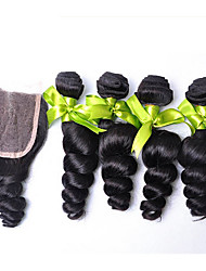 Hair Weft with Closure Brazilian Texture Loose Wave 18 Months 4 Pieces hair weaves