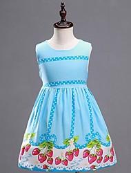 Vestido Chica de-Verano-Algodón / Lino-Azul / Rosa