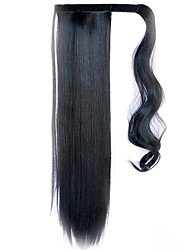 Black 60CM Synthetic High Temperature Wire Wig Straight Hair Ponytail Color Black