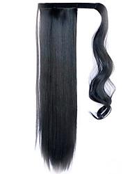 черный 60см синтетический высокая температура проволоки парик прямые волосы конский хвост цвет черный