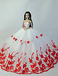 Party/Evening Dresses For Barbie Doll Red / White Dresses For Girl's Doll Toy