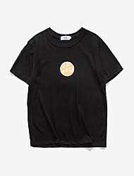 Print-Informeel-Heren-Katoen-T-shirt-Korte mouw Zwart / Beige