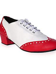 Aanpasbaar-Heren-Dance Schoenen(Rood) - metBlokhak- enJazz / Modern