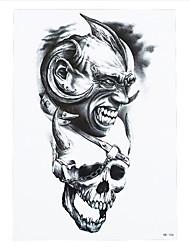 8pcs papier à la colle de la mode du crâne autocollant de tatouage temporaire imperméable aigle femmes ondes art corporel de l'homme