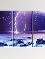 VISUAL STAR®Framed Seascape Giclee Art Lightning on Ocean Canvas Print Ready to Hang