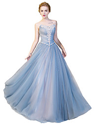 Formal Evening Dress Ball Gown Strapless Floor-length Satin / Tulle / Stretch Satin with Crystal Detailing
