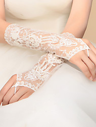 Elbow Length Fingerless Glove Lace Bridal Gloves / Party/ Evening Gloves Spring / Summer / Fall / Winter White lace