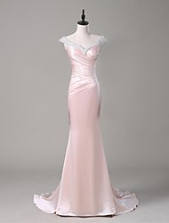 TS Couture® Formal Evening Dress Trumpet / Mermaid V-neck Sweep / Brush Train Stretch Satin with Beading / Crystal Detailing