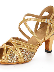 Customizable Women's Dance Shoes Latin Leatherette Stiletto Heel Gold