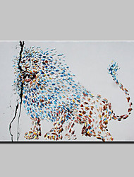 Hand Painted Modern Abstract Animal Lion Oil Painting On Canvas Wall Art With Stretched Frame Ready To Hang 90x140cm