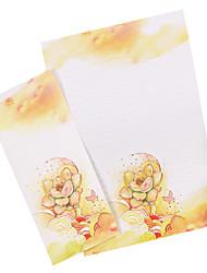 Succulents letter set envelope (3 envelope 6 stationery, stationery envelope 8.6*17.6CM, 17*24CM, random pattern)