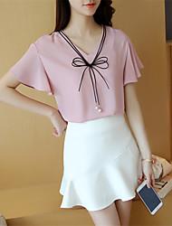 Damen Solide Einfach Ausgehen T-shirt,V-Ausschnitt Kurzarm Rosa / Weiß / Grün Polyester Dünn