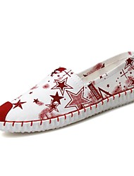 Women's Shoes Canvas Flat Heel Boat / Comfort Loafers Office & Career / Athletic / Dress / Casual Black / Red