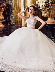 A-line Wedding Dress Floor-length High Neck Tulle with Appliques / Beading / Lace / Ruffle