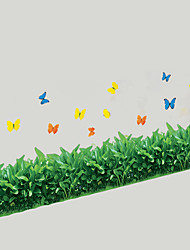 Skirting Line Stairs Glass Grass With Butterfly Wall Stickers PVC Removable Wall Decals