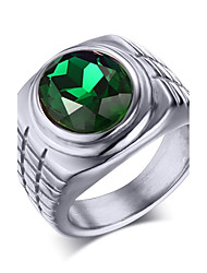 Stainless Steel Zircon Man Ring