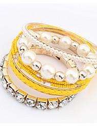 Femme Bracelets Rigides Perle Imitation de perle Strass Imitation de diamant Alliage Mode Jaune Rouge Rose Bleu Rose Arc-en-ciel Bijoux
