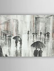 Hand Painted Oil Painting Landscape Abstract People Walk in Rain with Stretched Frame 7 Wall Arts®