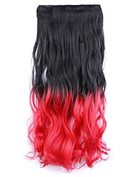 nero e rosso e marrone lunghezza 60 centimetri di pendenza parrucca sintetica capelli lisci lunghi capelli cinque carte (colore blacktred)