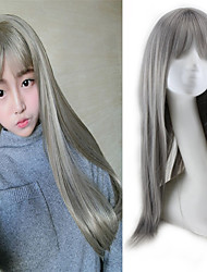 Women Long Straight Cosplay Synthetic Hair Wig Granny Grey Full Bang with Free Hair Net