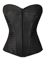 YUIYE® Women Sexy Lingerie Waist Training Corset Bustier Tops Shapewear Waist Cincher Black PU Plus Size