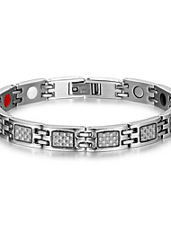Men's Jewelry Health Care Silver Titanium Steel Magnetic Therapy Bracelet