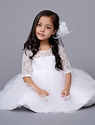 A-line Knee-length Flower Girl Dress-Lace / Organza Half Sleeve