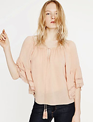Women's Casual/Daily Sexy / Street chic Summer Blouse,Solid Boat Neck ½ Length Sleeve Pink Cotton Thin